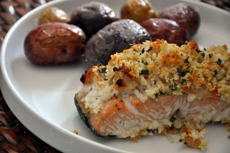 macadamia nut and yogurt crusted salmon | Food- Healthy | Pinterest