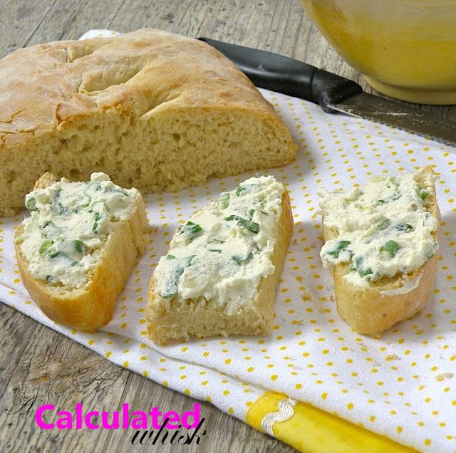 Fresh bread with homemade ricotta and herb spread. I want to have a ...