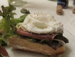cookingforone Poached Egg and Prosciutto Open-Faced Sandwich