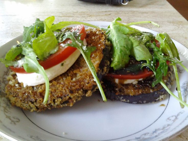 Panko Pan fried Eggplant stacked w/Mozzarella, Tomatoe, Arugula, Basil ...