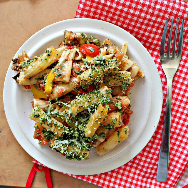 Rigatoni with Eggplant and Pine Nut Crunch...Eat.Live.Be. for a Bette ...