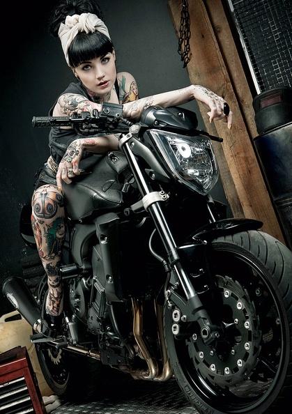 Girl on hot bike cool bikes pinterest for Biker chick tattoos