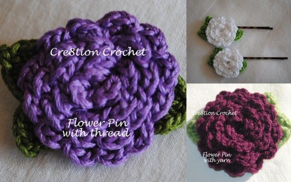 Crochet Flower Hair Clip , accessories, hairpin free pattern