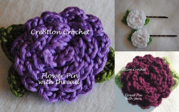 Crochet Hair Clip Pattern : Crochet Flower Hair Clip , accessories, hairpin free pattern