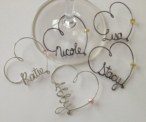 Wine Glass Charms, Personalized, Wedding Favor, Wine Glass Charms, Br ...