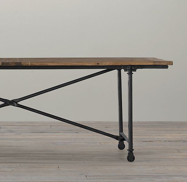 Reclaimed Wood Cast Metal Dining Table Kitchen Pinterest
