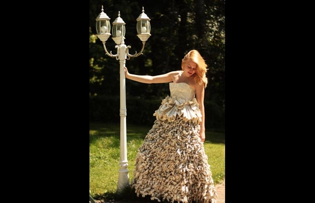 Ballgown crafted from an old dictionary by Canadian teenager Tara ...