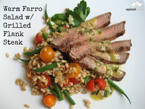Warm Farro Salad w/ Grilled Flank Steak | Nosh | Pinterest