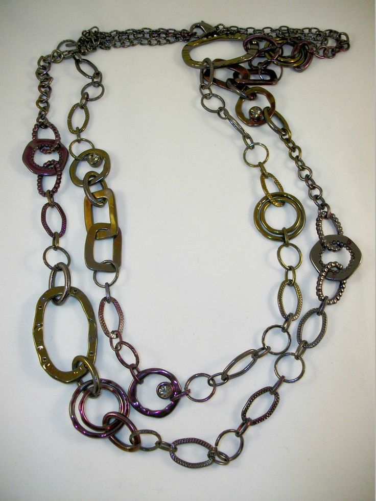 "CHICO'S Double Chain Necklace Purple, Green, Gray with Bling Scattered Throughout, 32""- 36""  Excellent Pre-Owned Condition! $19.95 obo (Free S&H)"