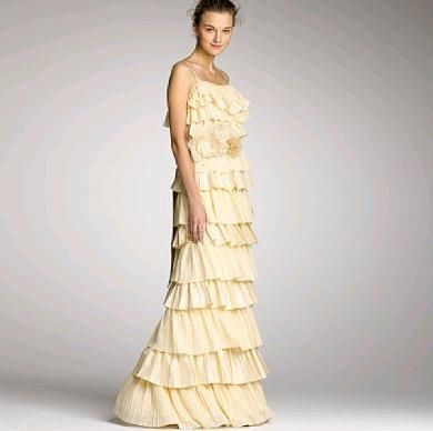 Yellow and ruffles on wedding dress