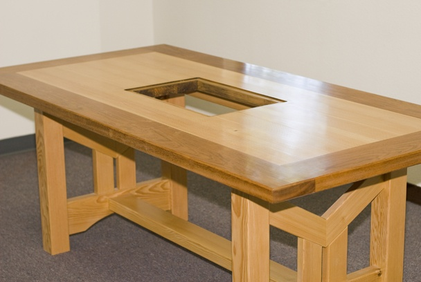 Portable Hibachi Table This Korean-style BBQ table features a middle cut-out for a Hibachi ...