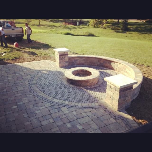 Custom Backyard Fire Pits : Custom patio with fire pit  Backyard  Pinterest