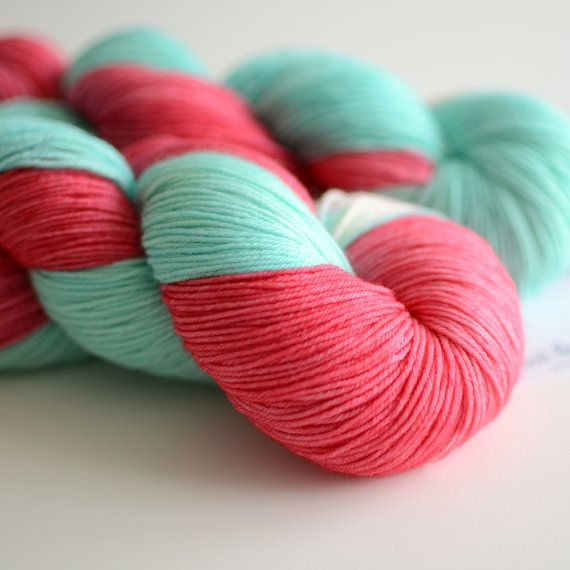 Hand Dyed Sock Yarn - Fingering Yarn - Red Sky in the Morning - Coral ...