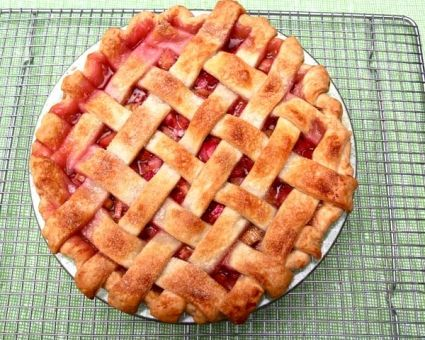 Rhubarb Lattice Pie Recipe | The Daily Meal