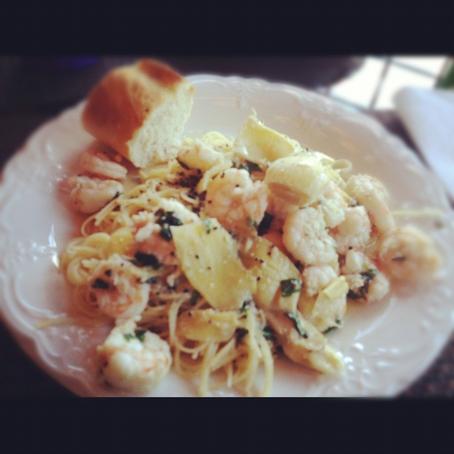 Shrimp Scampi with Artichokes in a White Wine Sauce. Home Made. # ...