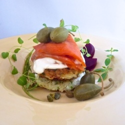 Smoked Salmon Potato Cakes With Herb Creme Fraiche Recipe — Dishmaps
