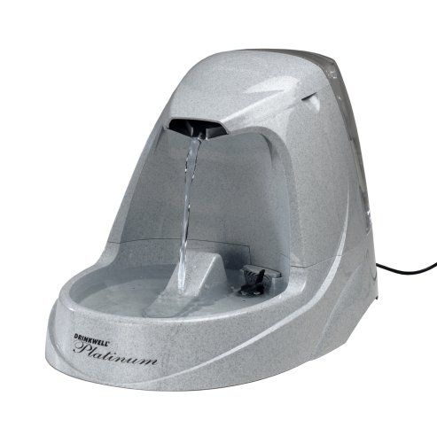 The Drinkwell® Platinum Pet Fountain is the ultimate in style and design. The Platinum utilizes the same innovative watering system as our other Drinkwell® Pet Fountains, featuring the patented free-falling stream of water. This entices pets to drink more, keeping them happy, healthy and hydrated. The Platinum features a new snap-on lid to prevent accidental removal, a pre-filter to catch any large particles before they reach the motor, and a s...