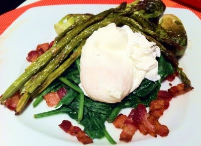 Wilted Spinach, Poached Egg, Crispy Bacon And Roasted Vegetable Salad