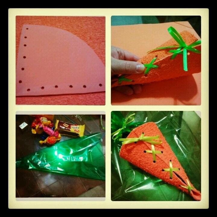 Easter/Páscoa.Cenouras de EVA recheadas de guloseimas!!!