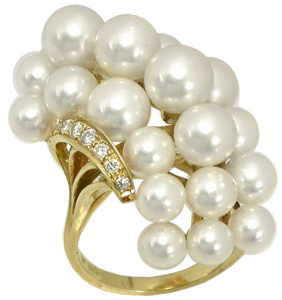 Mikimoto Pearl Diamond Cluster Ring