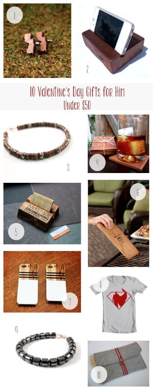 10 Valentine's Day Gifts for Him Under $50. http://blog.aftcra.com ...