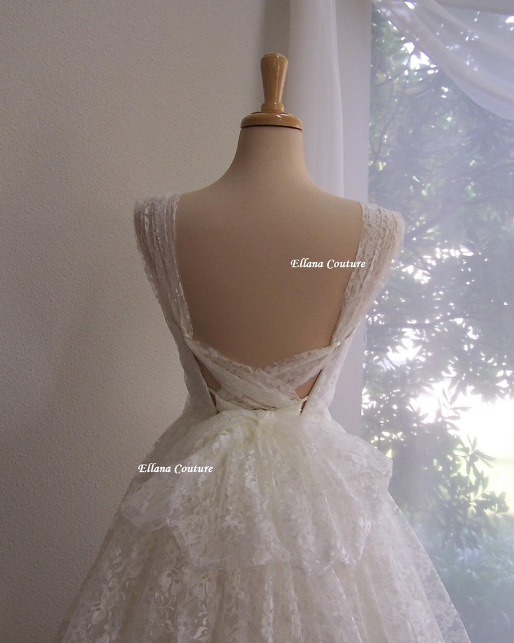 Iris retro style bridal gown ivory lace tea length for Retro tea length wedding dress