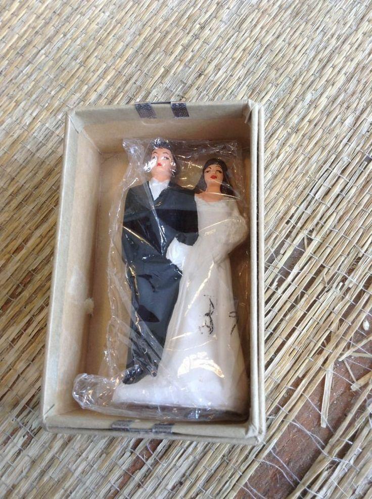 Vintage Wedding Cake Topper Figurine Bride Groom Plaster Chalkware Unused In Box