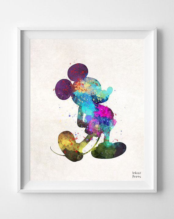 Disney mickey mouse watercolor painting print mouse for Art sites like etsy