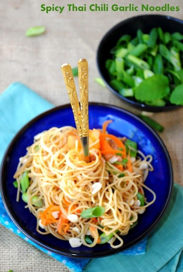 US Masala: Thai Spicy Chili Garlic Noodles with Basil and Peanuts
