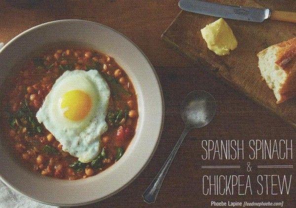Kitchen Letters: Spanish Spinach & Chickpea Stew