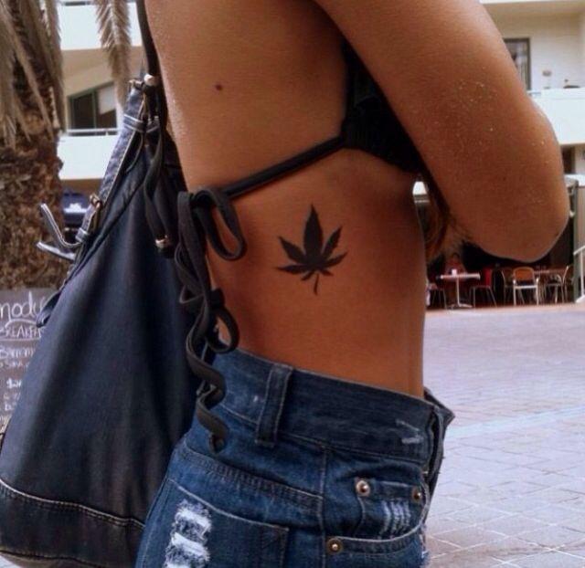 Pot Leaf Tattoo For Girls Pot leaf tattoo on ribs