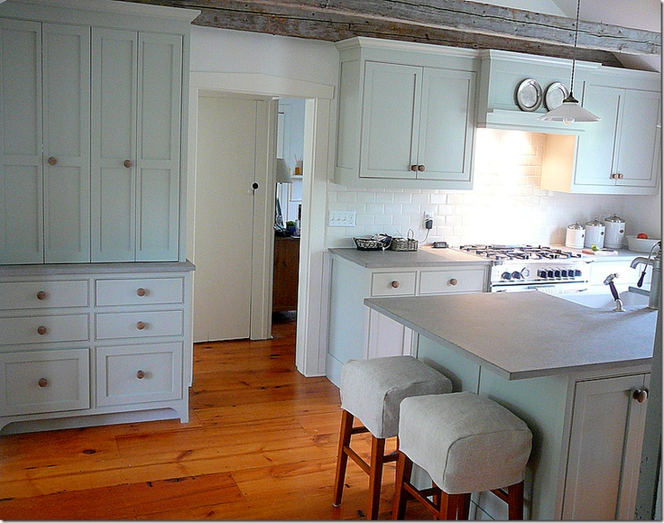 notes simple hood, BM Fieldstone Grey painted cabinets, fireslate