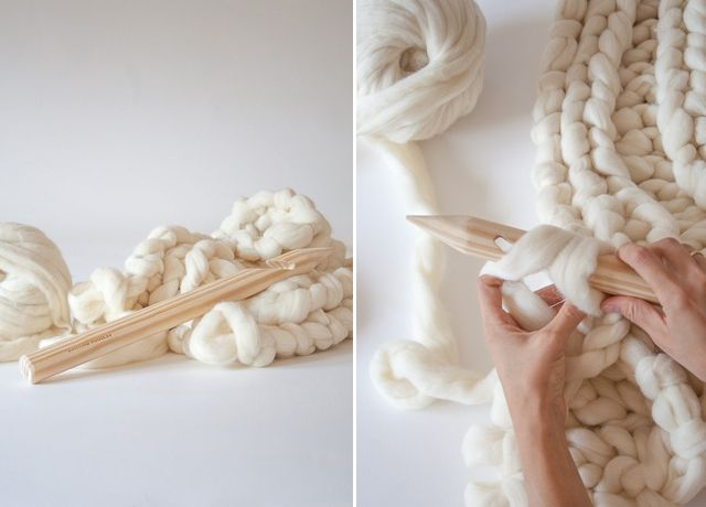 This time of year always inspires me to bring out my knitting needles to knit - especially now after I've discovered this new super-sized yarn. Chunky knits are not only a trend in sweaters and beanies, they have made there way to our homes. Spain based Knitting Noodles sells 100% merino wool