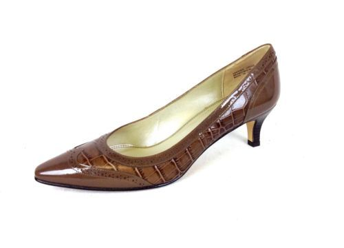 Talbots Shoes Leather Patent Brown Slip on Pumps Classic Heels Womens