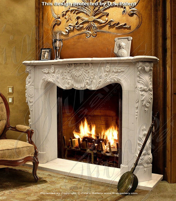 French Versailles Marble Fireplace Surround
