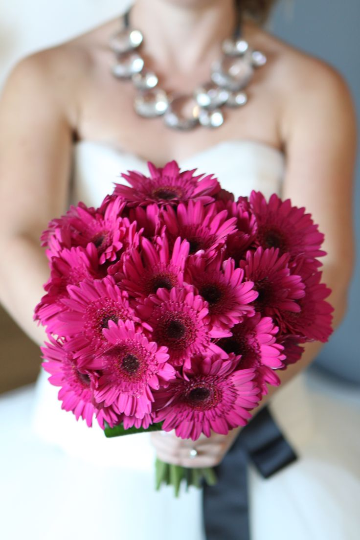 Red Gerbera Wedding Bouquets : Hot pink gerbera wedding bouquet grey