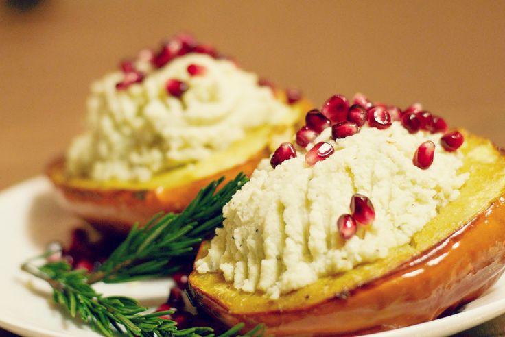 ... Acorn Squash with Garlic Cauliflower Mash and pomegranate seeds