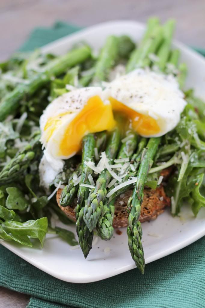 Asparagus & Arugula Salad with a Poached Egg on Toast