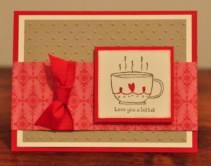 Love You a Latte Greeting Card, Red, Brown, Cream, Hearts, Ribbon, Co ...