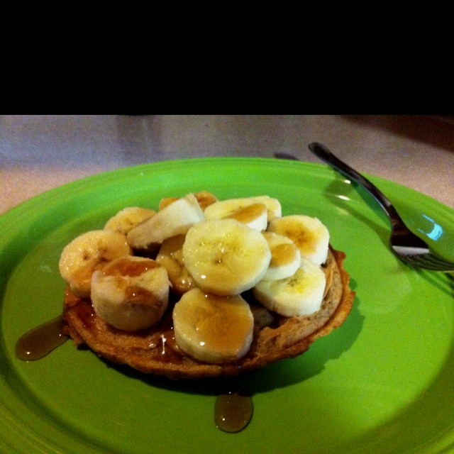 whole wheat waffle, peanut butter, a banana, and light syrup. talk ...