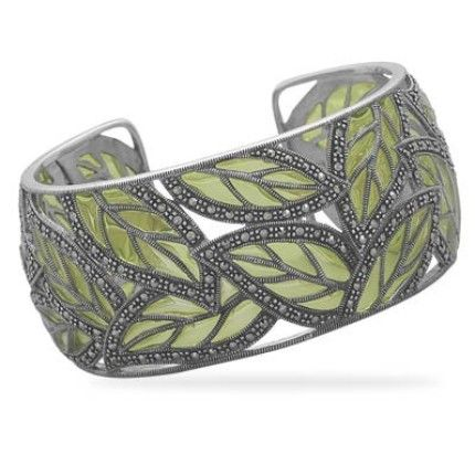 Green and Silver Leafy Cuff