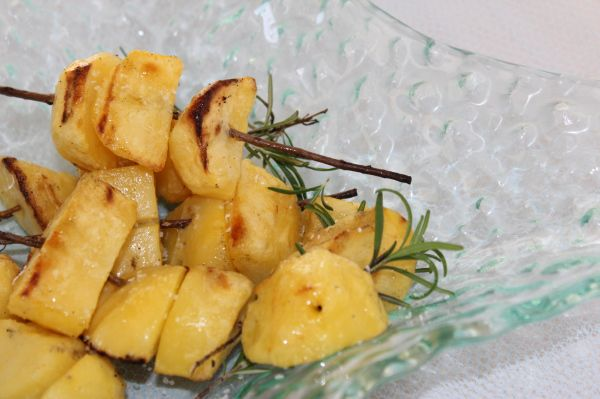 Grilled Rosemary and Garlic Skewered Potatoes. Using rosemary twigs ...