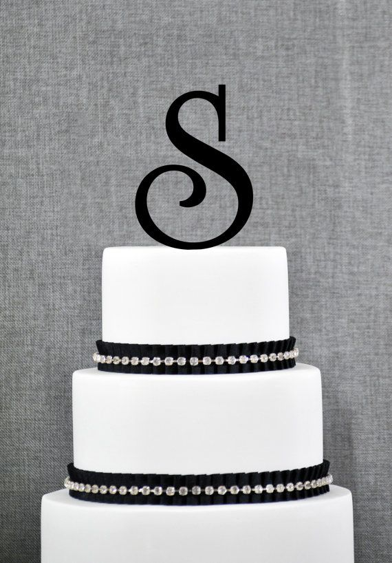Monogram Cake Toppers Letter S : Letter S Monogram Initial Cake Toppers, Personalized ...