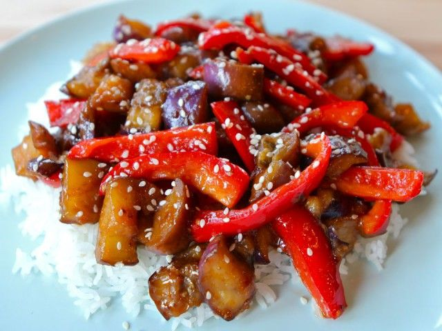 simple Chinese-inspired recipe: Sweet and Sour Eggplant with red ...