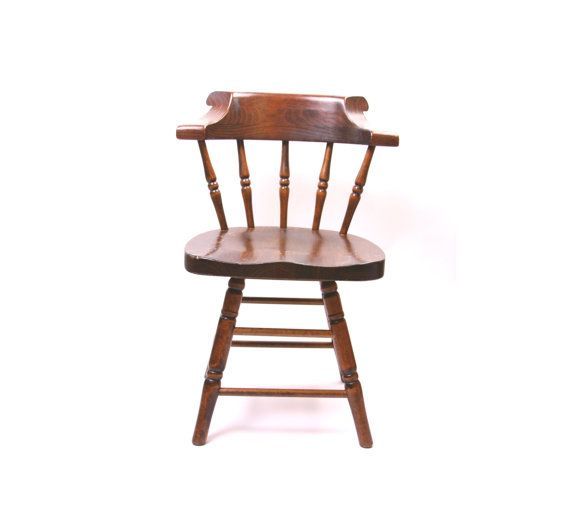 vintage wood spindle chair swivel chair kitchen chair