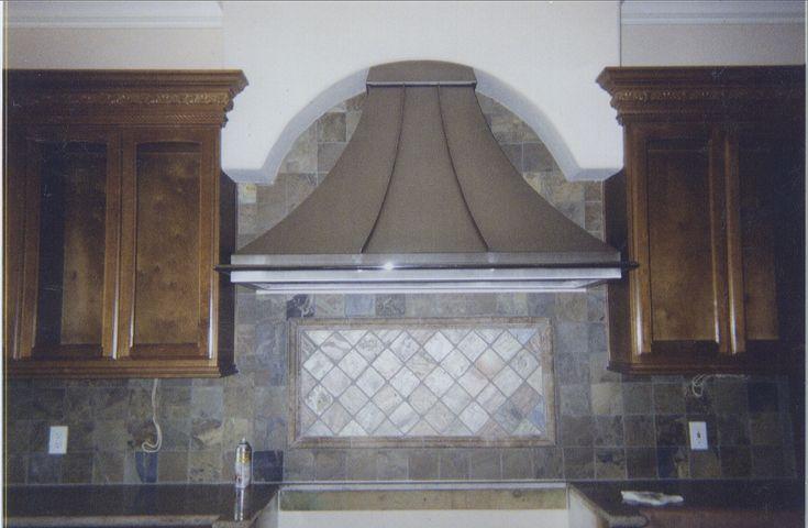 Custom kitchen range hood range hoods pinterest for Decorative stove hood