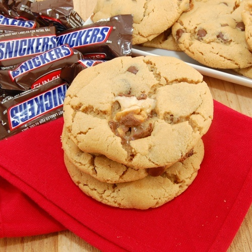 Peanut Butter Snickers Cookies - you can also use the fun size ...
