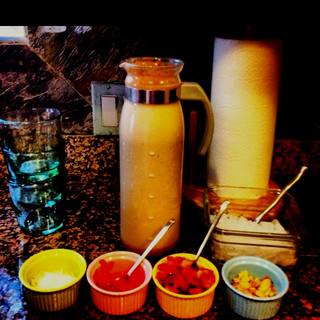 Horchata bar: Muddled strawberries, shaved coconut, almonds, and ...