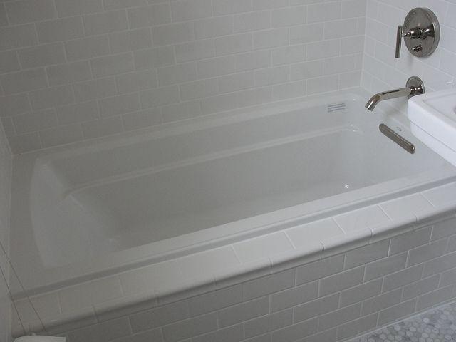 Kohler Archer Drop-In Tub with Daltile Subway Tile in Kohler White 2 by onestorybuilding, via Flickr