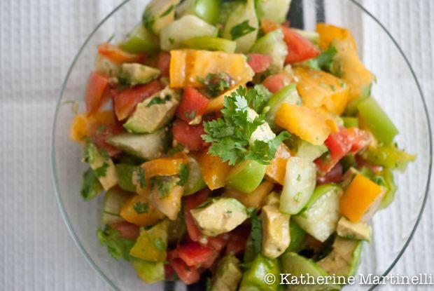Tomato, Tomatillo, and Avocado Salad and Summer Recipe Blog Hop